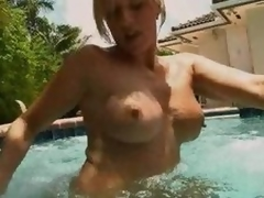 Estimable Blond MILF Blowjobs In The Pool