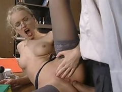 Glassed Anal Slut Dora Venter Gets Screwed and Facialized In The Office