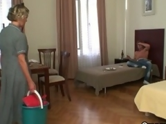 Horny after a party, stud receives older cleaning lady to blow him