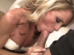 Admirable looking slim blonde MILF Nikki Charm takes sturdy shlong in her mouth. But after shlong engulfing she uses her tongue to give pleasure to her fuck buddy. That honey licks his asshole and that guy likes it so much.
