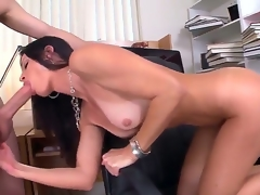 Seductive MILF India Summer munches on a massive boner before receiving it down her dripping moist cunt