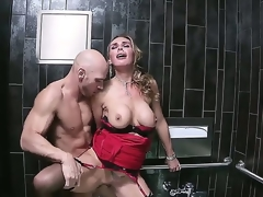 Gorgeous blonde MILF Tanya Tate loves having her delicious, shaved cunt smashed hard in a public bath