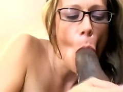 Sensational brunette babe enjoys giving blowjob and groans as her gaping wet crack is drilled