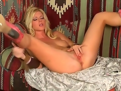 Blonde temptress, named Niki Young, demonstrates on the camera how she masturbates her pussy. Babe makes her aperture soaked by gentle touches on her sensitive boobies.