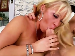 Arousing cock loving blonde milf Austin Taylor with large jaw dropping round ass and whorish enormous make up seduces tattoos stud and rides on his cock like there is no tomorrow.