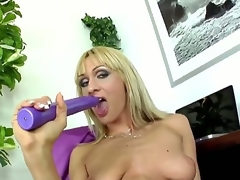 Provocative whorish blond milf Cherry Ball batter with cheep enormous make up and lengthy nails in nylons and high heels teases and stuffs wet cunt with lengthy violet dildo to orgasm.