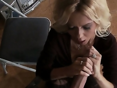 Dressed blond milf Barbi Sinclair is playing with enormous massive piece of meat of Keiran Lee. She stands on knees sucking and stroking his large throbbing 10-Pounder so well.