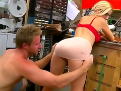 Passionate blond hottie with great forms of body is exposing before handsome chap exposing her sweetest parts. He becomes turned on so much and starts licking her ass.