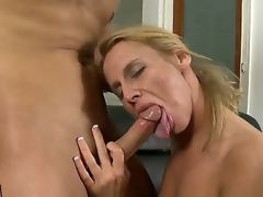 Youthful handsome guy Kris Slater gets his unbending meaty pecker sucked admirable by experienced lusty blond milf Taylor Jo with constricted hot wazoo and natural milk sacks in living room act