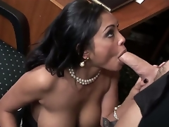 The perverted mature female Priya Rai is a real office slut that is plunging into the nasty oral fuck with her colleague. This babe is deepthroating his dick and getting muff licked