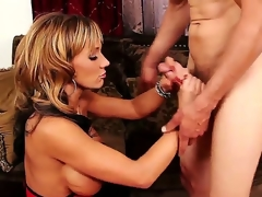 Lascivious and tattooed fellow Chris Johnnson acquires his hard and big dick sucked by a lovely blonde milf with big honkers Nikki Sexx on her knees in her living room and ejoys