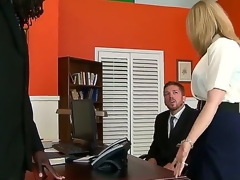 Great interracial sex with Nathan Threat and Nina Hartley. This older woman looks hot as that babe sits on an office desk and, spreads her pants open and shows of her constricted gap as her man acquires down on his knees before them.
