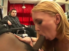 Naughty MILF Ami Emerson really wants to taste the big darksome ramrod of Tyler Knight  and the presence of her hubby is clearly not going to stop her. Watch her blow the guy!