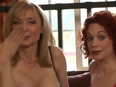 Dressed in super-sexy revealing undies, MILFs Justine Joly and Nina Hartley are here to let you scrutinize their stunning bodies and listen to their nasty sex stories!