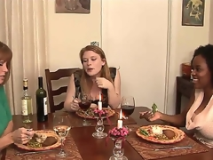 This dinner that MILF porn star Darla Crane is throwing for her young kitty friends Alia Starr and Madison Juvenile looks innocent from the start but It will pretty soon receive nasty!