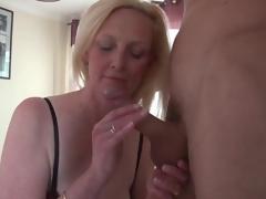 Beautiful big tits blonde mature sucks jock