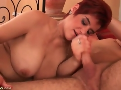 Obese mature redhead sucks on youthful stud cock