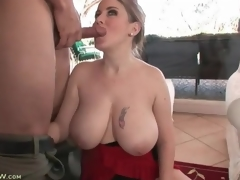 Incredible curves and biggest tits on cocksucking milf