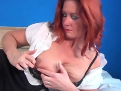 Petticoat and blouse on mature redhead in erotic porn