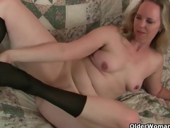Mom's fresh pantyhose receives her all sexy and lascivious