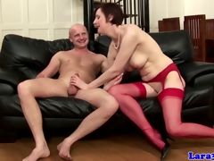 English older in red stockings screwed