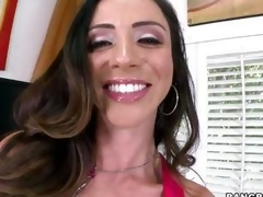 Smoking hawt Ariella Ferrera warms her vagina up by having an orgasm before the sh
