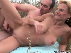 The great outdoors wets grandma's appetite for penis and cum