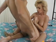 Aunt legs spread fucking with a stud