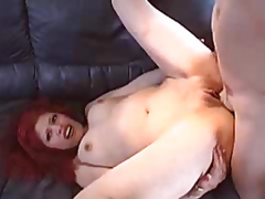 Red-haired gal with a smooth fur pie screwed by a guy