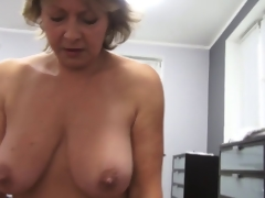 Czech mature POV 53yo blowjob fuck and cumming on big scones