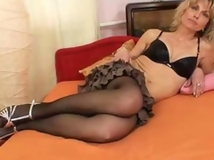 She likes to wear nylons and tease
