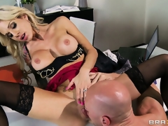 Sexy blond chick doesn't even make it out of the office in advance of she's half naked and licked