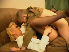 Lustful milf teasing younger chap with her skills in cock-sucking and riding