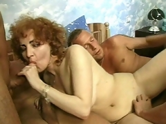 Hot Jammie thinks that this babe still has what it takes to be in porn and here in her audition, she's ganged up by 3 sexy men. They play with her mature love bubbles then acquire her down on all fours so they could plug her from the one and the other ends with a cock betwixt her tits.