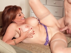 In this scene, 52-year-old Sheri Fox leaves no doubt about what she wants.I want u to fuck that ass, she says as she bows over and spreads it, teasing the chap whos been sent to fuck her. Have I got an a-hole for you!From the start, Sheri is wearing a purple bra, nylons and a purple garter but absolutely no panties, so when she bows over, we can see the a-hole that this fellow is about to fuck. But first, hes going to have his 10-Pounder sucked (all the way, as Sheri takes him right down to his balls) and then hes going to fuck her nicely decorated pussy. When shes getting her muff fucked, Sheri likes to look down and watch the 10-Pounder going in and out of her.But all this is only a prelude. Sheri turns upside down, spreads wide and says, Cmon, fuck my ass. There it is. So the fellow takes what hes given, and Sheri takes each inch of his dick in her needy asshole. This just might be our hottest scene ever.