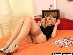 Superb golden-haired amateur milf prankish time pellicle