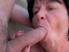 Breasty grandmother plays with blarney unserviceable