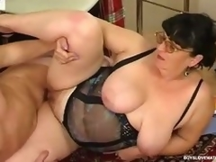 Chubby matured honey teasing a hung security to win his mint ache load of shit