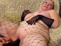Grown up golden-haired Cynthia sucks a cock and lets the guy plaything her meaty wet crack