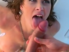 Breasty brunette milf Ashlee Raine gets all her holes fucked on a yacht