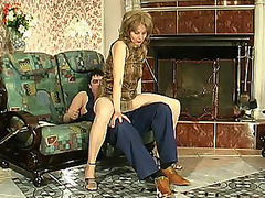 Lewd mommy in silky hose giving legjob burning with want for hard drilling